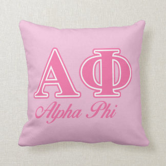 Alpha Phi Pink Letters Throw Pillow