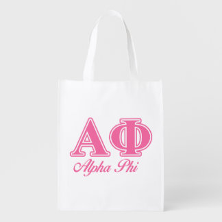 Alpha Phi Pink Letters Reusable Grocery Bag