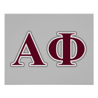 alpha phi silver and bordeaux letters 2 poster