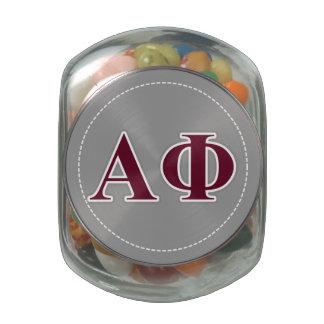 Alpha Phi Silver and Bordeaux Letters Glass Jar