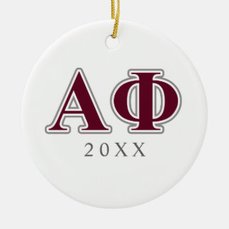 Alpha Phi Silver and Bordeaux Letters Ceramic Ornament