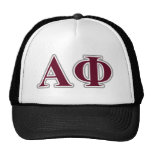 Alpha Phi Silver and Bordeaux Letters Hats