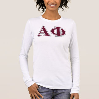 Alpha Phi Silver and Bordeaux Letters Long Sleeve T-Shirt