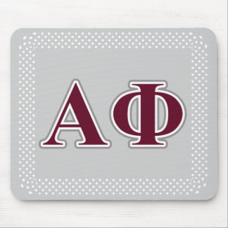 Alpha Phi Silver and Bordeaux Letters Mouse Pad