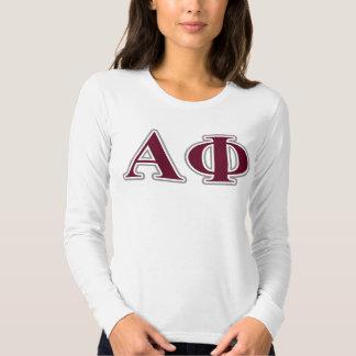 Alpha Phi Silver and Bordeaux Letters T-Shirt