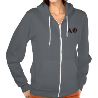 Alpha Phi Silver and Bordeaux Letters Hooded Pullover