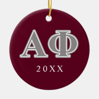 Alpha Phi Silver Letters Ceramic Ornament