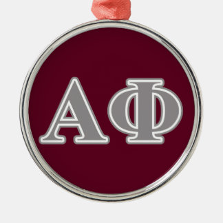 Alpha Phi Silver Letters Metal Ornament
