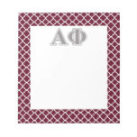 Alpha Phi Silver Letters Scratch Pad