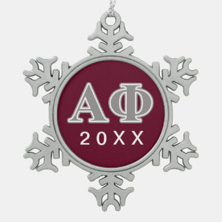 Alpha Phi Silver Letters Snowflake Pewter Christmas Ornament