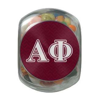 Alpha Phi White and Bordeau Letters Glass Candy Jar