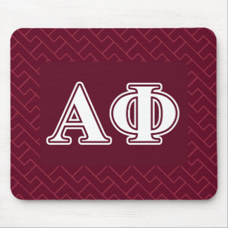 Alpha Phi White and Bordeau Letters Mouse Pads