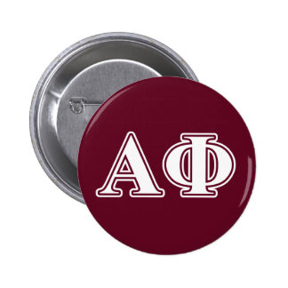 Alpha Phi White and Bordeau Letters Pinback Button