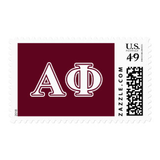 Alpha Phi White and Bordeau Letters Postage Stamp