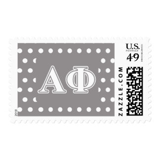 Alpha Phi White and Silver Letters Postage