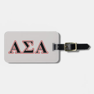 Alpha Sigma Alpha Black an Red Letters Bag Tags