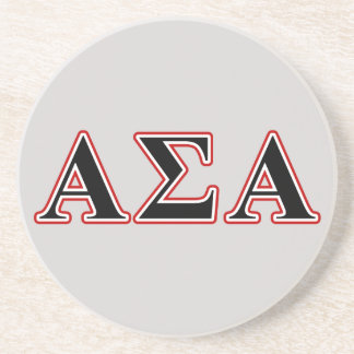 Alpha Sigma Alpha Black an Red Letters Beverage Coaster