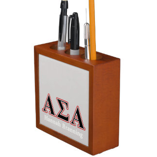 Alpha Sigma Alpha Black an Red Letters Desk Organizers