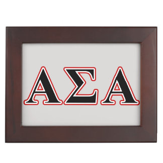 Alpha Sigma Alpha Black an Red Letters Memory Box