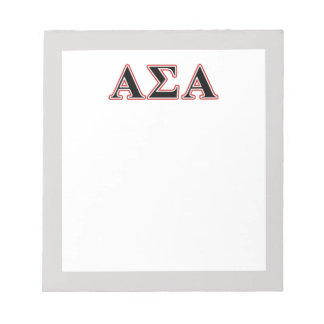 Alpha Sigma Alpha Black an Red Letters Notepads