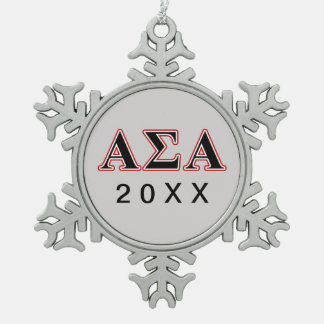 Alpha Sigma Alpha Black an Red Letters Snowflake Pewter Christmas Ornament