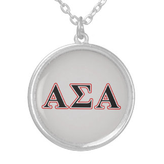 Alpha Sigma Alpha Black an Red Letters Pendant