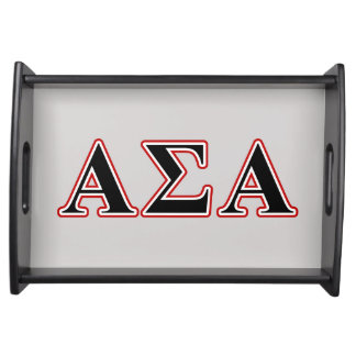 Alpha Sigma Alpha Black an Red Letters Service Tray