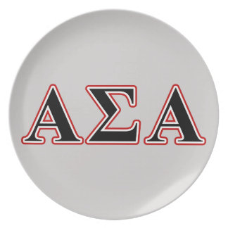 Alpha Sigma Alpha Black an Red Letters Plates
