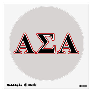Alpha Sigma Alpha Black an Red Letters Wall Sticker