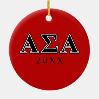 Alpha Sigma Alpha Black Letters Ceramic Ornament