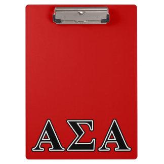 Alpha Sigma Alpha Black Letters Clipboards