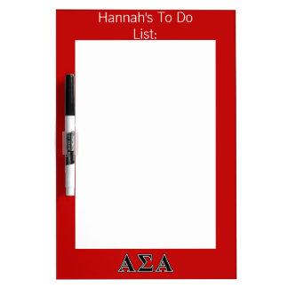 Alpha Sigma Alpha Black Letters Dry-Erase Whiteboard