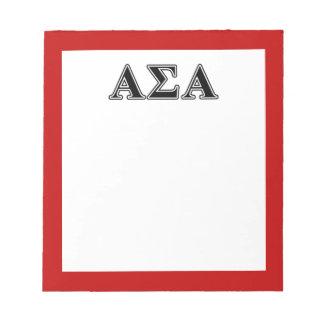 Alpha Sigma Alpha Black Letters Notepads