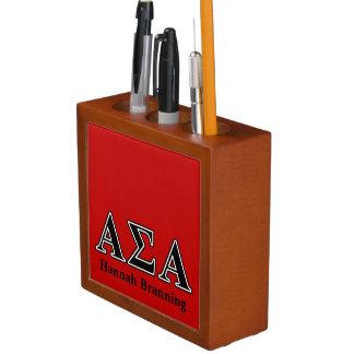 Alpha Sigma Alpha Black Letters Pencil Holder