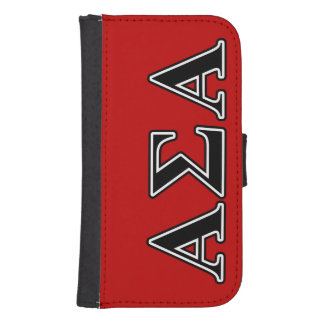 Alpha Sigma Alpha Black Letters Galaxy S4 Wallet Cases