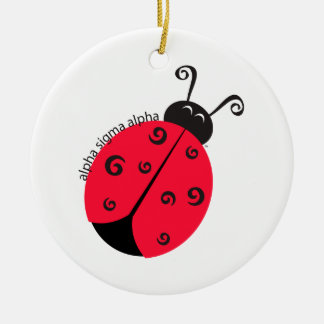 Alpha Sigma Alpha Ladybug Double-Sided Ceramic Round Christmas Ornament