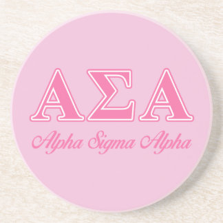 Alpha Sigma Alpha Pink Letters Beverage Coasters