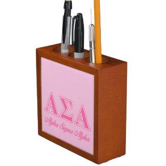 Alpha Sigma Alpha Pink Letters Desk Organizers