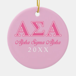 Alpha Sigma Alpha Pink Letters Double-Sided Ceramic Round Christmas Ornament