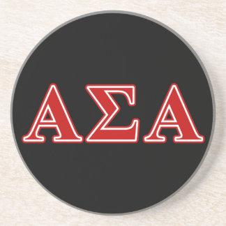Alpha Sigma Alpha Red Letters Beverage Coaster