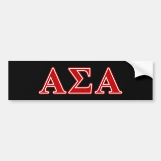 Alpha Sigma Alpha Red Letters Car Bumper Sticker