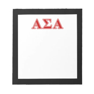 Alpha Sigma Alpha Red Letters Memo Note Pad