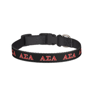 Alpha Sigma Alpha Red Letters Pet Collars