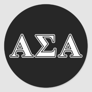 Alpha Sigma Alpha White and Black Letters Classic Round Sticker