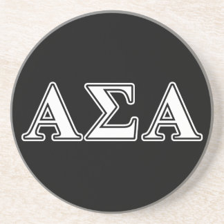 Alpha Sigma Alpha White and Black Letters Beverage Coasters