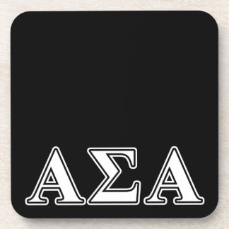 Alpha Sigma Alpha White and Black Letters Drink Coaster
