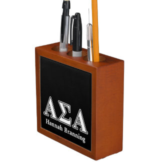 Alpha Sigma Alpha White and Black Letters Desk Organizers