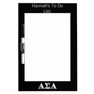 Alpha Sigma Alpha White and Black Letters Dry-Erase Board