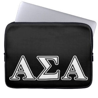 Alpha Sigma Alpha White and Black Letters Laptop Computer Sleeves