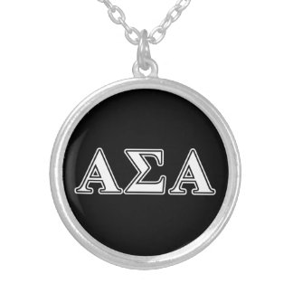 Alpha Sigma Alpha White and Black Letters Personalized Necklace